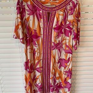 Pink tropical/Floral print dress